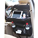 Amooca Car Backseat Storage Organizer with Foldable Table Tray, 7 Pockets, PU Leather Protectors, Waterproof Vehicles Travel Accessories (Black 1 Piece)
