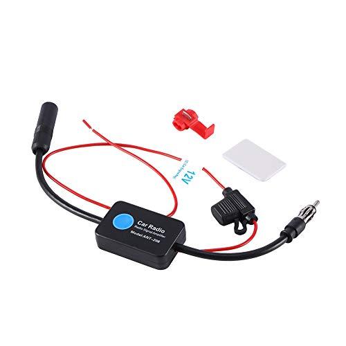 FM Antenneversterker, universeel, 12 V, voor de auto, FM-radioantenne, versterker, met lijm en rode clip, voor autoradio