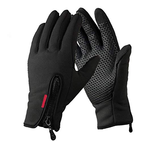 WMOSS Work Gloves Touch Screen Flex Grip Winter Gloves Warm Fleece Driving Gloves Windproof Outdoor For Men Women,Black (Large)