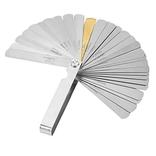 Calibrador de espesores, calibre de espesores de 32 cuchillas, acero inoxidable, métrico imperial, herramienta de medición de 0,04 a 0,88 mm, herramienta de medición de precisión