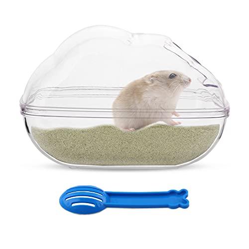 Baño de Arena de Hámster Forma de Ratón de Plástico Contenedor de Baño de Arena Bañera para Mascotas Pequeñas Sauna Baño Aseo Caja con Pala para Hamster Guinea Pig Hurón Gerbil Chinchilla Large