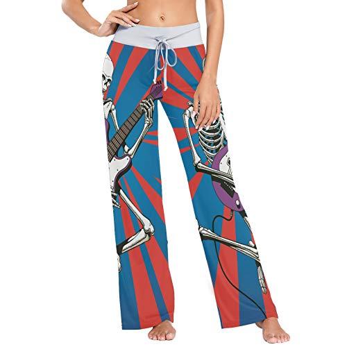 Pantalones de Pijama para Mujer Pantalones de Dormir Pantalones Largos atléticos de Pierna Ancha Esqueleto de Calavera de Guitarra