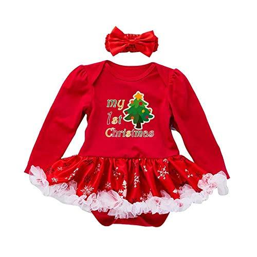 Ynnxia 2 Stks Set Kerst Jurk Baby Meisjes Romper Jurk Lange Mouw Rok Katoen Rode Jumpsuit Romper Kleding Set voor Pasgeboren Baby Meisje