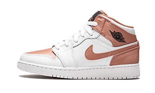 Nike Mädchen AIR Jordan 1 MID (GS) Basketballschuhe, Weiß (White/Rose Gold/Black 190), 38 EU