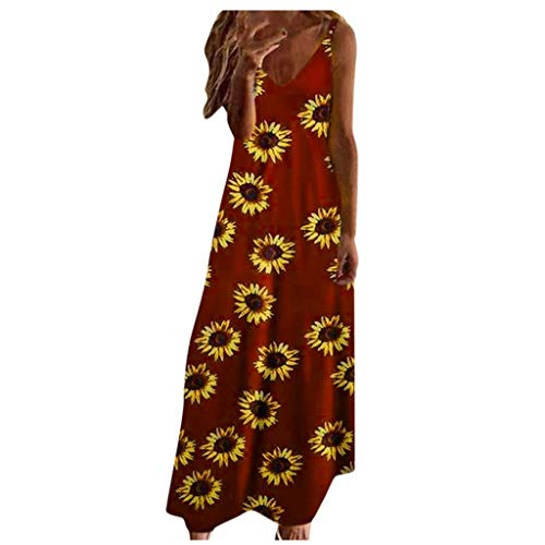 Aniywn Bohemian Long Dress,Womens Sleeveless Plus Size Printing Floral Casual Vintage V-Neck Beach Sundress Wine