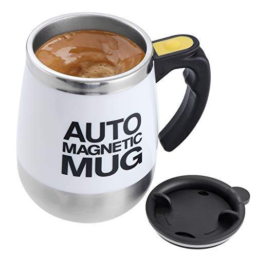 Elektrischer selbstrührender Kaffeebecher aus Edelstahl, automatische magnetische Tasse, Lebensmittelqualität, selbstmischende Tasse Kaffeetasse (weiß)