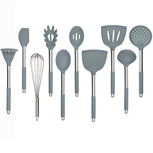 Juego de utensilios de cocina de silicona, mango de acero inoxidable para utensilios de cocina antiadherentes, juego de 10...