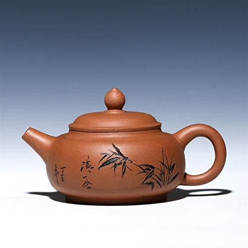 WANGZHI Tetera Tea Cup auténticos Maestros de la totalidad de la Mano por la Pendiente del Verde de la Arcilla de Barro bambú Lotus Fu Pot (Size : Downhill mud)