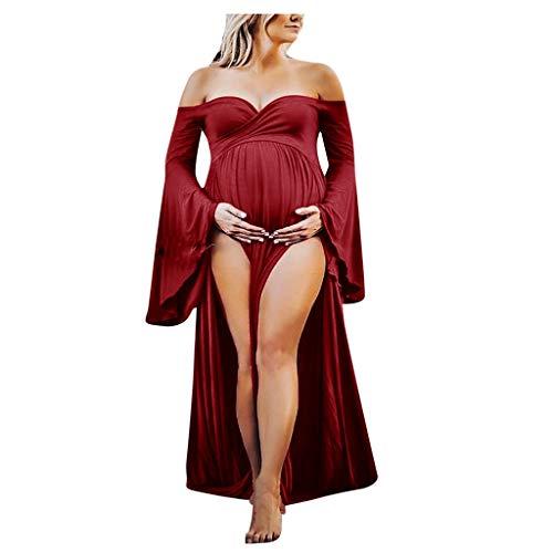 Vestido de Maternidad Maxivestido de Premamá Novia Dama de Honor Sesión Fotográfica de Embarazada Disparar Vestidos de Fiesta Noche de Manga Larga Fannyfuny