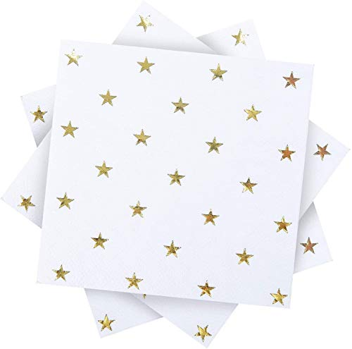 yvyuan 120 Pack Blanco con Estrellas de Papel servilletas de Papel servilletas con 3 Capas Decoraciones Ideales de Fiesta de Oro, Suministros de Fiesta de cumpleaños, 5 por 5 Pulgadas (Color : White)