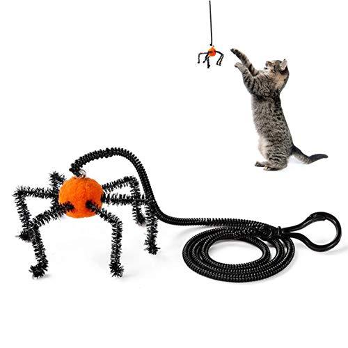 INTVN Giocattoli per Gatti, Interactive Giocattolo per Gatti Gatto Creativo Bell con Cordino Elastico per Gatti e Cuccioli Arancione Ragno, Animali per Gatti