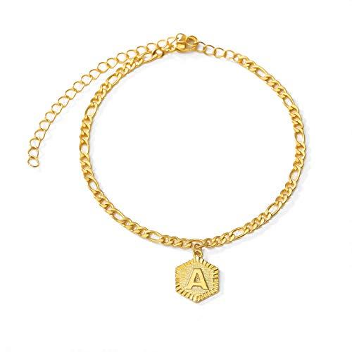 Dainty AZ letra tobillera en forma de hexágono inicial pulsera de tobillo de acero inoxidable joyería de pies cadena de pierna de color dorado regalos de mujer, G, H