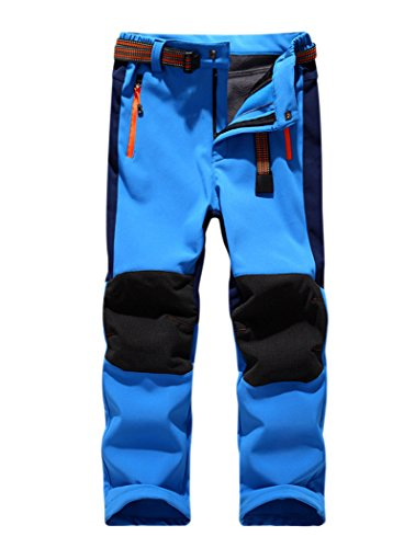 CATERTO Girls/Boys Fleeced Snow Hiking Pants Water Repellent Windproof Outdoor Sports Softshell Winter Pants Blue L