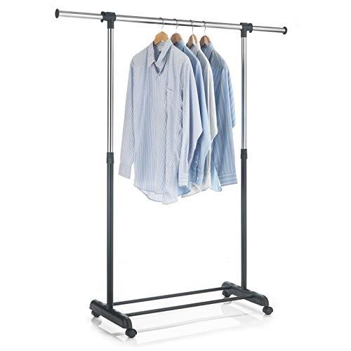 CARO-Möbel Rollgarderobe SALA Garderobenwagen Kleiderständer schwarz höhenverstellbar und ausziehbar