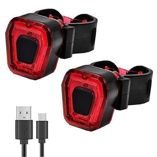 Paquete de 2 luces traseras de bicicleta recargables por USB, accesorios LED de alta intensidad se adapta a cualquier bicicleta o casco, 5 luz..