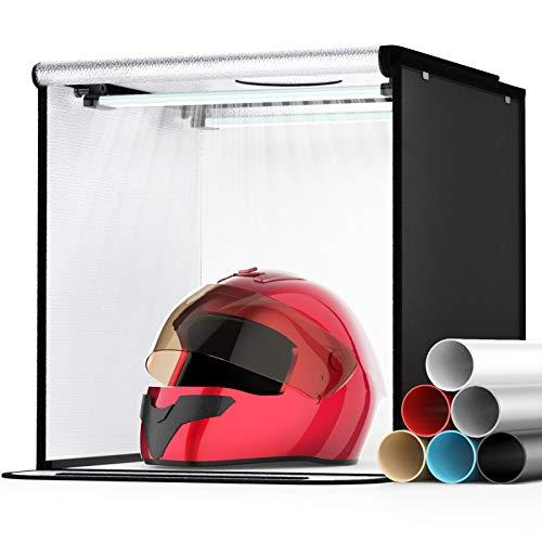 SAMTIAN Light Box Portatile 16''x16''x16'' / 40 * 40 * 40cm Set Fotografico Professionale Kit Dimmerabile 5500k con 84 Perline LED Strisce + 6 carte di sfondo per fotografia, ritratto, scatto