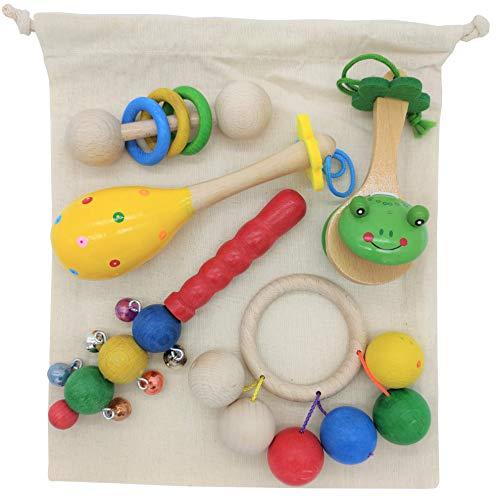 Panier au trésor musical Montessori avec sac en tissu - Les sons - Instruments de musique en bois et jouets pour bébés et enfants - Hochets, maracas, castagnettes, cloches, anneaux - heuristique