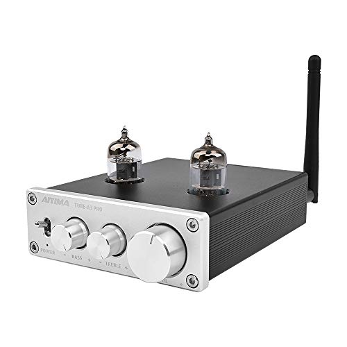 AIYIMA Audio 6J1 Tube Preamplifier Bluetooth 5.0 with Treble & Bass Adjustment DC12V HiFi Audio Preamp NE5532P Chips for Home Audio Amplifier System(Silver+BT 5.0)