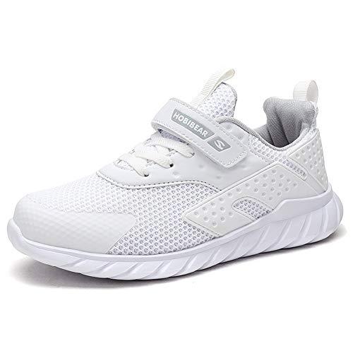 GUFANSI Fitnessschuhe Kinder 35 Schuhe Jungen Turnschuhe Mädchen Laufschuhe Sportschuhe Hallenschuhe Leicht Atmungsaktiv Walkingschuhe Outdoor Snesker Weiß Kinderschuhe für Unisex-Kinder