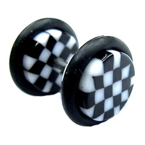 Chic-Net Piercing falso dilatador unisex con disco de acrílico de 10 mm, diseño de tablero de ajedrez, color blanco y negro