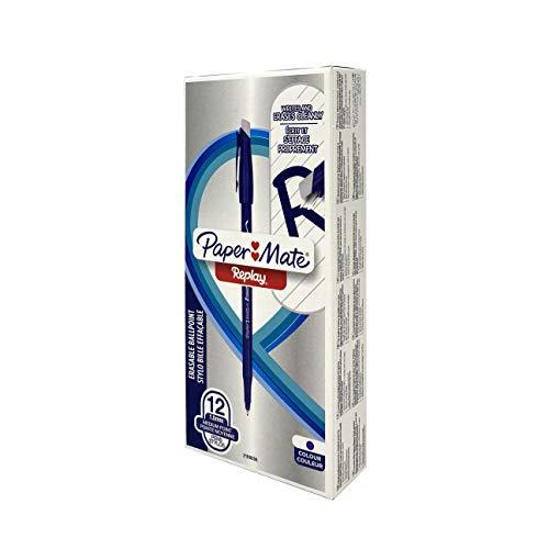 Paper Mate Replay Bolígrafo de bola borrable 40º aniversario Limited Edition, paquete de 12 bolígrafos, azul