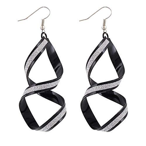 Onefeart Base Metal Pendientes de Gota Para Mujeres Chicas Exagerado Estilo Espiral Diseño 30X78MM Negro