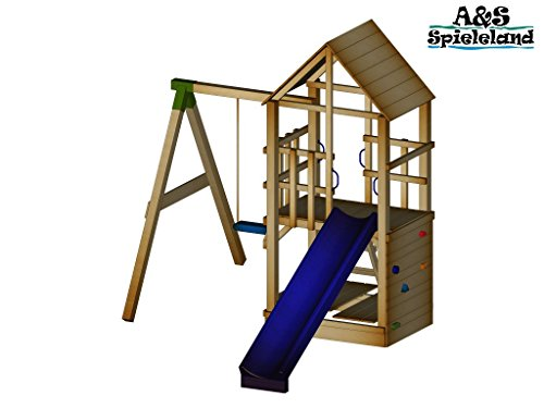 A&S Spieleland Spielturm BASTI 2.0 Set 1 Rutsche 240 cm Kletterturm Schaukel Pfosten 9x9cm