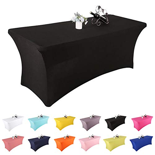 Yetomey Rectangular Fitted Spandex Tablecloths Stretchable Patio Table Covers for Birthday Party Wedding Pop Up Shop More Flexibility & Weight (Black 6FT)