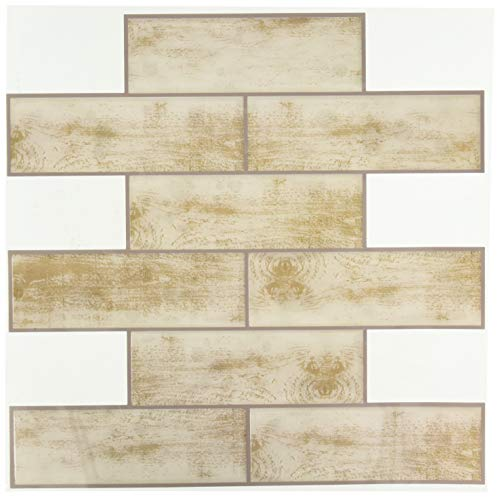 RoomMates TIL3691FLT Distressed Wood Subway StickTile, Tan