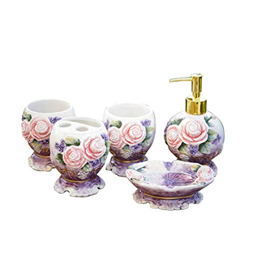 FORLONG Ceramic Bathroom Accessories Set of 5-Victorian Flower (Purple)