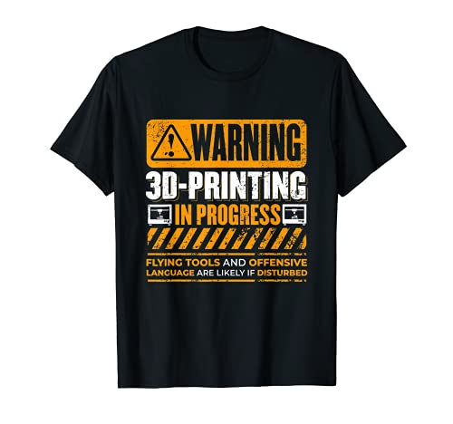Vintage Warnung 3D-Druck In Progress Nerdy 3D-Drucker T-Shirt