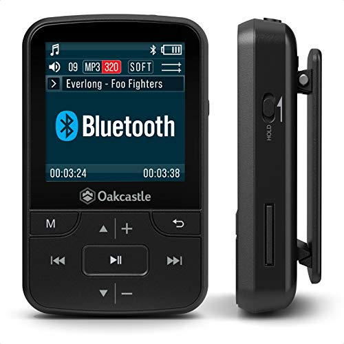 Photo of Oakcastle MP100 8GB Bluetooth MP3 Player/Portable Music Player with memory slot wireless and Long life battery for Outdoors and Running Compatible with 32GB, 64GB, 128GB SD card Headphones Included