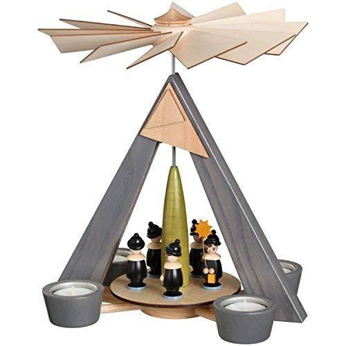 Rudolphs Schatzkiste Teelichtpyramide Kurrende bunt BxHxT 24,5x29x24,5cm NEU Pyramide Holzpyramide Seiffen Erzgebirge Weihnachten Wärmespiel Teelicht Lichter Figur Holz Flügel Kerzen