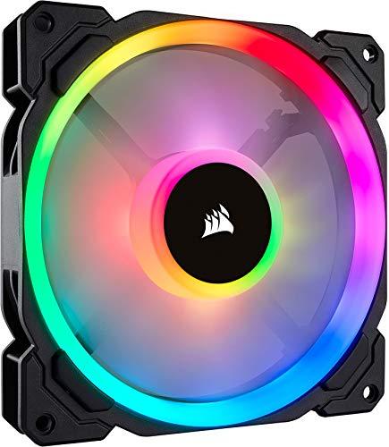 Corsair LL140 RGB LED PWM PC-Gehäuselüfter (140mm Dual Licht Loop RGB LED, Einzelverpackung) schwarz