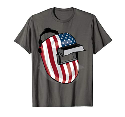 American Flag Welding Helmet Shape Shirt | Cute Welder Gift