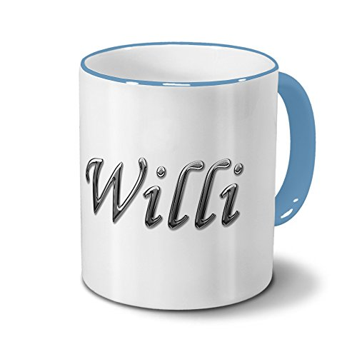 Tasse mit Namen Willi - Motiv Chrom-Schriftzug - Namenstasse, Kaffeebecher, Mug, Becher, Kaffeetasse - Farbe Hellblau
