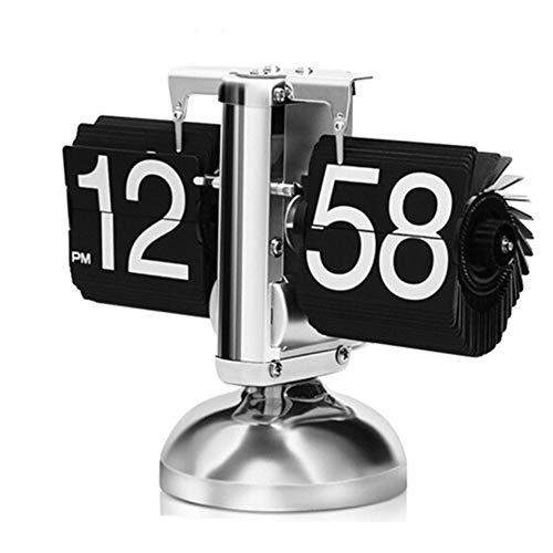 Lisansang Reloj de Mesa Retro Digital Flip Down Clock Funciona con Pilas Dormitorio Compacto Reloj Junto a la Cama Sala de Estar Decorativo Moda Retro Analógico (Color : Black, Size : 19.5X17 cm)