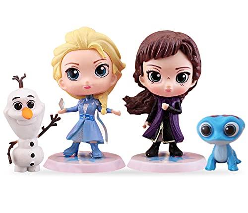 Princesa congelada Cake Topper simyron 4 Pcs Frozen Cake Topper, Mini Figuras Niños Cake Topper, Fiesta de cumpleaños Pastel Decoración Suministros