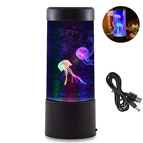 YUKFGH Stimmungslicht, LED-Quallen-Tischlampe mit 7 wechselnden Farben, Mini-Quallen-Aquarium-Lampe, elektrische Quallen, Fake-Aquarium-Aquarium für Stimmungslicht zum Entspannen