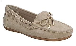 حذاء جلد نوباك بفيونكة وخياطة امامية بنعل مطاط للنساء من ديجافو