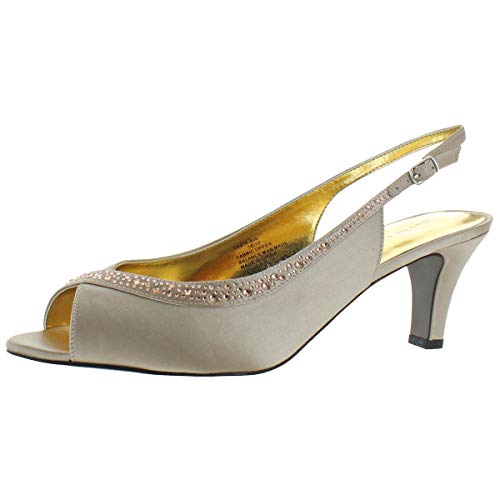 David Tate Women's Dainty Satin Crystal Heeled Slingback Sandals Beige Size 8.5