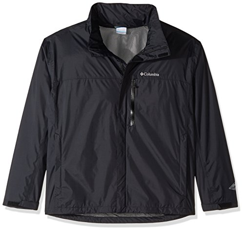 Columbia Men's Pouration Waterproof Rain Jacket, Black, Large