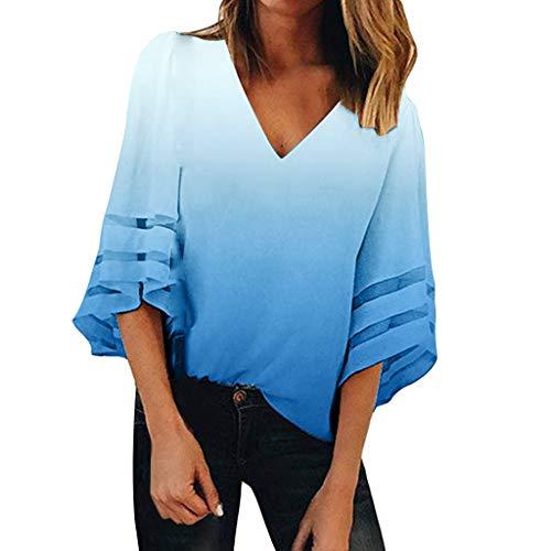 Women Summer Fashion V Neck Tops Three Quarter Sleeve Shirt Pullover Blouse Camisetas Mujer Blusas Mujer Tallas Grandes EN Ofertas Blusas de Mujer Elegantes con Encaje de Fiesta de Moda