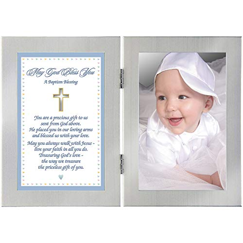 아기 소년 세례 선물 프레임에 축복 카드-사진 추가