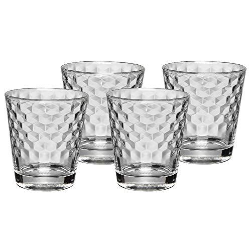 WMF CoffeeTime Wassergläser Set 4-teilig, Gläser 265 ml mit Wabenmuster, Tumbler, Cocktail, hitzebeständiges Kristallglas, spülmaschinengeeignet