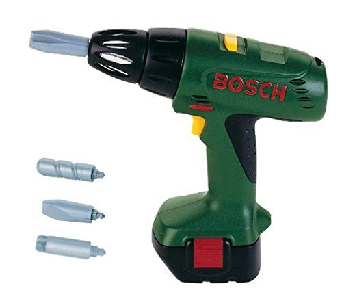 Theo Klein 8402 Bosch Cordless Screwdriver I Battery-Powered Screwdriver with Light and Sound Functions I Interchangeable, Rotating Attachments I Dimensions: 20 cm x 6.5 cm x 19 cm