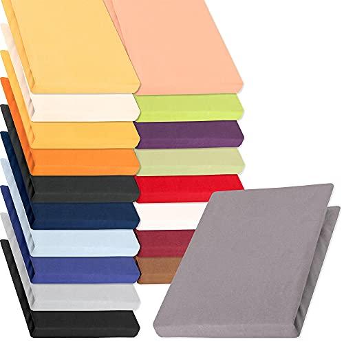 aqua-textil Pur Jersey Spannbettlaken 140x200 - 160x220 cm dunkel grau Wasserbett Boxspringbett 160g/qm Mako Baumwolle