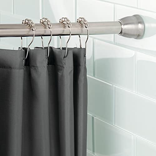 mDesign Barra para Cortinas de baño sin Taladro – Barra para Ducha Extensible con tecnología Constant Tension – Soporte de Cortina de baño con fácil Montaje –...