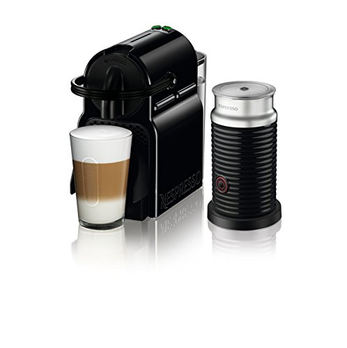 Nespresso Inissia Espresso Maker with Aeroccino Milk Frother by De'Longhi, Black 2 BARISTA GRADE: Nespresso Inissia by De'Longhi offers an impeccable single-serve Coffee or Espresso cup every time, thanks to its automatic operation and patented extraction system which delivers up to 19 bars of pressure SPEED: ideal water temperature is reached in 25 seconds and you are ready to make 9 single-serve cups of Coffee without having to refill the 24 ounce tank. This automatic Coffee machine gets your perfect cup of Coffee or Espresso to you fast. VERSATILE AND SMART COFFEE MACHINE: Adjustable cup size with two programmable espresso and Lungo buttons. A folding drip tray accommodates larger single-serve cup sizes and recipes