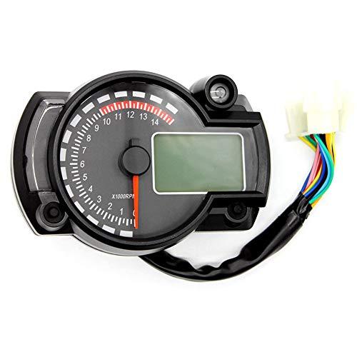 Lechnical Velocimetro Moto, Velocímetro de Motocicleta, Instrumento LCD Digital Tacómetro Indicador Odómetro 7 Colores con Luz de Advertencia de Falla para RX2N 4 Cilindros 400CC 5000rpm
